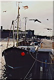 SC2484 : Peel - Fishing boat in harbour and lots of seagulls by Joseph Mischyshyn