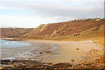SW3526 : Beach at low water north of Sennen Cove by Andy F