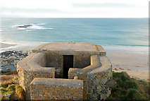 SW3526 : Higher of two 'pillbox' gun emplacements above Sennen Cove (1) by Andy F
