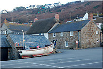 SW3526 : Fishing boat drawn up on a car park at Sennen Cove by Andy F