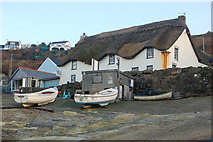 SW3526 : Thatched cottage and fishing boats at Sennen Cove by Andy F