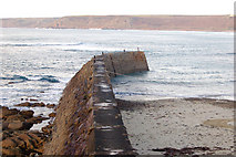 SW3526 : The breakwater at Sennen Cove by Andy F
