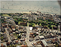 TQ8485 : Aerial view of Southend seafront: Leigh seafront and town centre by Edward Clack
