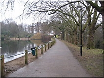 TQ2785 : Hampstead Heath: Dam between Ponds Numbers 1 and 2 by Nigel Cox