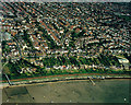TQ8485 : Aerial view of Southend seafront: Chalkwell paddling pool and beach by Edward Clack