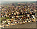 TQ8385 : Aerial view of Southend seafront: Old Leigh by Edward Clack