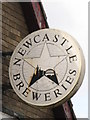 NZ1965 : Newcastle Breweries sign on The Vallum, Moorcroft Road by Mike Quinn