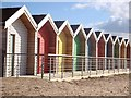 NZ3279 : Colourful beach huts at South Beach, Blyth by Joan Sykes