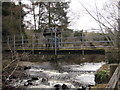 NY9258 : Footbridge and Weir at Whitley Mill by Les Hull