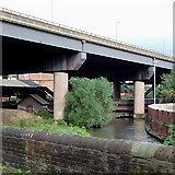SP0990 : River Tame and elevated motorway, near Gravelly Hill by Roger  Kidd