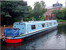 SP0586 : Narrowboat moored by the National Indoor Arena, Birmingham by Roger  Kidd