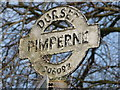 ST9009 : Pimperne: detail of A354 sign by Chris Downer