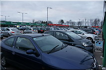 NJ8711 : Rental hire car park, Aberdeen Airport by Mike Pennington