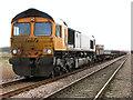 TG3903 : Class 66 diesel locomotive 66712 'Peterborough Power Signalbox' by Evelyn Simak
