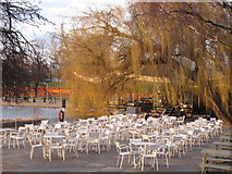 TQ2780 : Tables, chairs and willow by the Serpentine Restaurant by David Hawgood