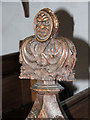TM1679 : The church of St Leonard in Billingford - medieval pew end by Evelyn Simak