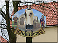 TM1682 : Dickleburgh village sign (close-up) by Evelyn Simak