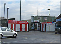 TQ0057 : Woking Football Club - entrance to ground at Kingfield Stadium by P L Chadwick