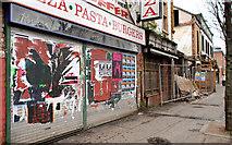 J3272 : Derelict shops, Belfast by Albert Bridge