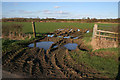SK7532 : Muddy Leicestershire gateway by Kate Jewell