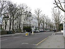 TQ2479 : Abbotsbury Road meets Holland Park Mansions by Peter Whatley