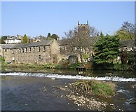 SE1039 : Weir & Landing Stage - River Aire, Bingley by Betty Longbottom