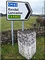 SD3880 : Milestone near Field Broughton by Maigheach-gheal
