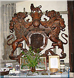 TF5002 : St Peter's church - Victorian royal arms by Evelyn Simak
