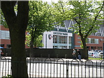 SK5803 : Leicester Tigers across the Welford Road from Mandela Park by Michael Trolove