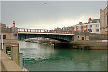 SY6778 : Town bridge from inside harbour by John Firth