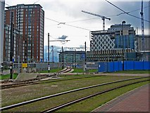SJ8097 : Manchester Metrolink Media City extension, Salford Quays by P L Chadwick