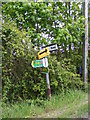 TM2964 : Roadsign on B1120,Badingham Road,Brabling Green by Adrian Cable