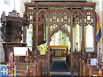 TM1273 : St Mary's church in Yaxley - rood screen by Evelyn Simak