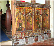 TM1273 : St Mary's church in Yaxley - rood screen panels by Evelyn Simak