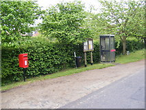 TG1508 : Former Post Office Postbox, Telephone Box & Bawburgh Village Notice Board by Geographer