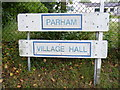 TM3060 : Parham Village Hall sign by Adrian Cable