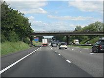 SJ7758 : M6 motorway - overbridge near Cross Bank Farm by J Whatley