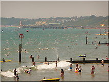 SZ1090 : Boscombe: view of the pier-to-pier swim by Chris Downer