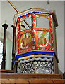 TF8628 : St Margaret's church in Tatterford - unused old pulpit by Evelyn Simak
