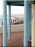 SY6873 : Pillars and railings - Chesil Cove Portland by Sarah Smith
