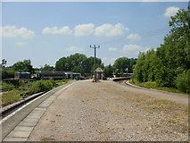 SO6302 : Power lines cross Lydney Junction railway station by Jaggery