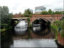 SJ8297 : Railway bridge, Salford by Graham Hogg