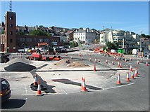 SY6778 : Roadworks at roundabout by harbour at Weymouth by David Smith