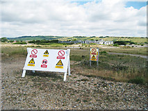 TR1332 : Hythe Ranges Keep Out Signs by Oast House Archive