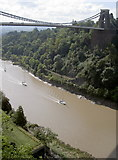 ST5673 : View of the Avon, the Suspension Bridge and sailing boats from the cave by Neil Owen
