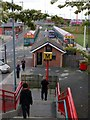 NZ3265 : Taxi Office & Bus Station, from steps to Metro Railway bridge, Jarrow by Andrew Curtis