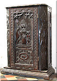 TM3389 : St Mary's church in Bungay - old carved cupboard by Evelyn Simak