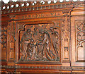 TM3389 : The Catholic church of St Edmund, Bungay - carving by Evelyn Simak