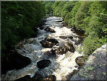 SH7357 : The Afon Llugwy at Pont Cyfyng in July by Jeremy Bolwell