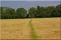 TQ4457 : Footpath across stubble field by Ian Capper